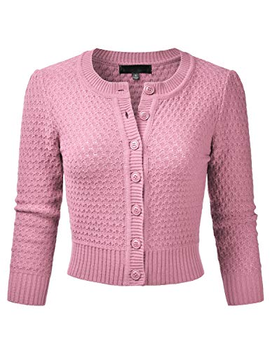 EIMIN Women's Crewneck Button Down 3/4 Sleeve Knit Crop Cardigan Sweater LIGHTPINK M