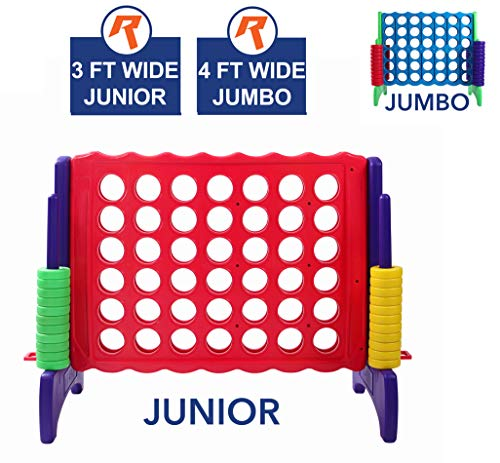 Giant 4 in A Row, 4 to Score - Premium Plastic Four Connect Game JUNIOR 3 Foot Width Set with 44 Rings by Rally & Roar - Oversized Fun Family, -
