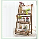 Folding Balcony Flower Frame Solid Wood Multi - Layer Retro Living Room Flower Shelf Indoor Flower Pot Frame - 50cm