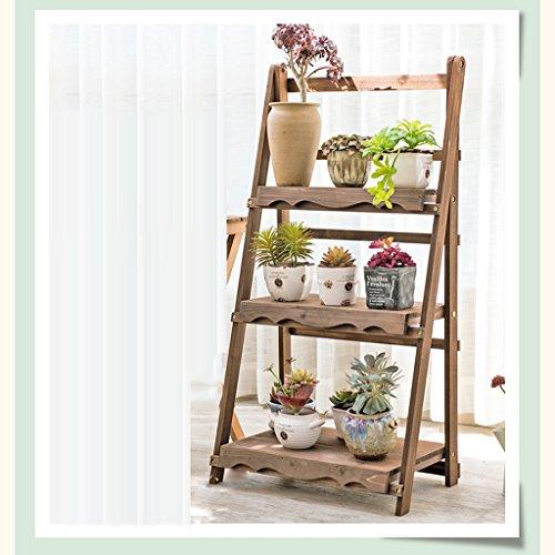 Folding Balcony Flower Frame Solid Wood Multi - Layer Retro Living Room Flower Shelf Indoor Flower Pot Frame - 50cm by LITINGMEI Flower rack