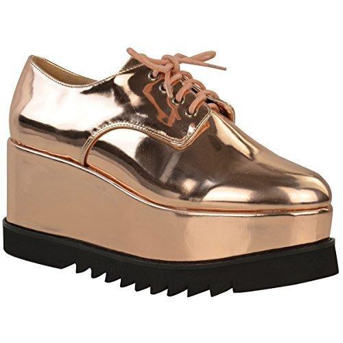 Mujer Grueso Plataformas Zapatos Oxford Cordones Vintage Plataforma Plana Mocasines cuñas Talla - Oro Rosa Metálico, 37: Amazon.es: Zapatos y complementos