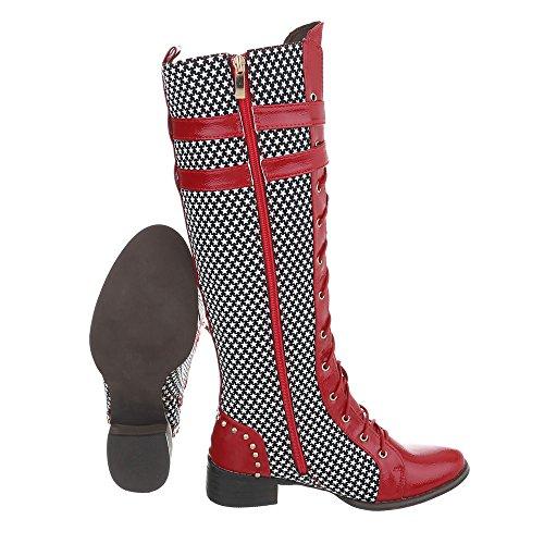 Leder Langschaftstiefel Leder Stiefel Optik Langschaftstiefel Optik Rot Damen Boots Schnürer Stiefel Schuhe Stiefel HCqwz