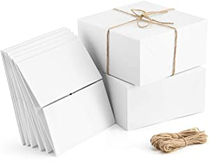 ValBox Premium Gift Boxes 10 Pack 8 x 8 x 4 White Paper Gift Boxes with 20 Meters Hemp Rope for Christmas Gifts, Bridesmaid Proposal Boxes, Easy Assemble Boxes