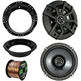 98-13 Harley Speaker Bundle: 2X Kicker 40CS654 6.5 Inch 300 Watts 2-Way Black Car Stereo Coaxial Speakers Combo With Speaker Mounting Rings For Motorcycles, Enrock 50 Foot 16 Guage Speaker Wire