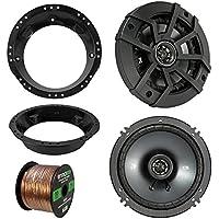 98-13 Harley Speaker Bundle: 2X Kicker 40CS654 6.5 Inch 300 Watts 2-Way Black Car Stereo Coaxial Speakers Combo With Speaker Mounting Rings For Motorcycles, Enrock 50 Foot 16 Guage Speaker Wire