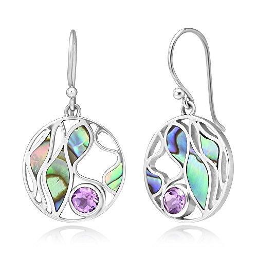 (925 Sterling Silver Amethyst Gemstone Abalone Shell Leaves Design Round Dangle Hook Earrings 1.4