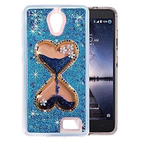 QKKE [Wine Glass Diamond Series] 3D Glitter Bling Hearts Flowing Liquid Star Clear Hard Case for ZTE Prestige N9132/Avid Plus Z828/Maven 2 Z831/Sonata 3 Z832/Chapel/Avid Trio (Hourglass - Lip Cell Phone Case