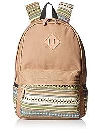 Leaper Lightweight Canvas School Backpack Laptop Bag Shoulder Daypack (Large, Khaki Flower)