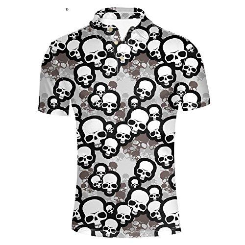 Pensura Skull Printed Polos Shirt for Men Pique Slim Fit Short Sleeve Shirt ()