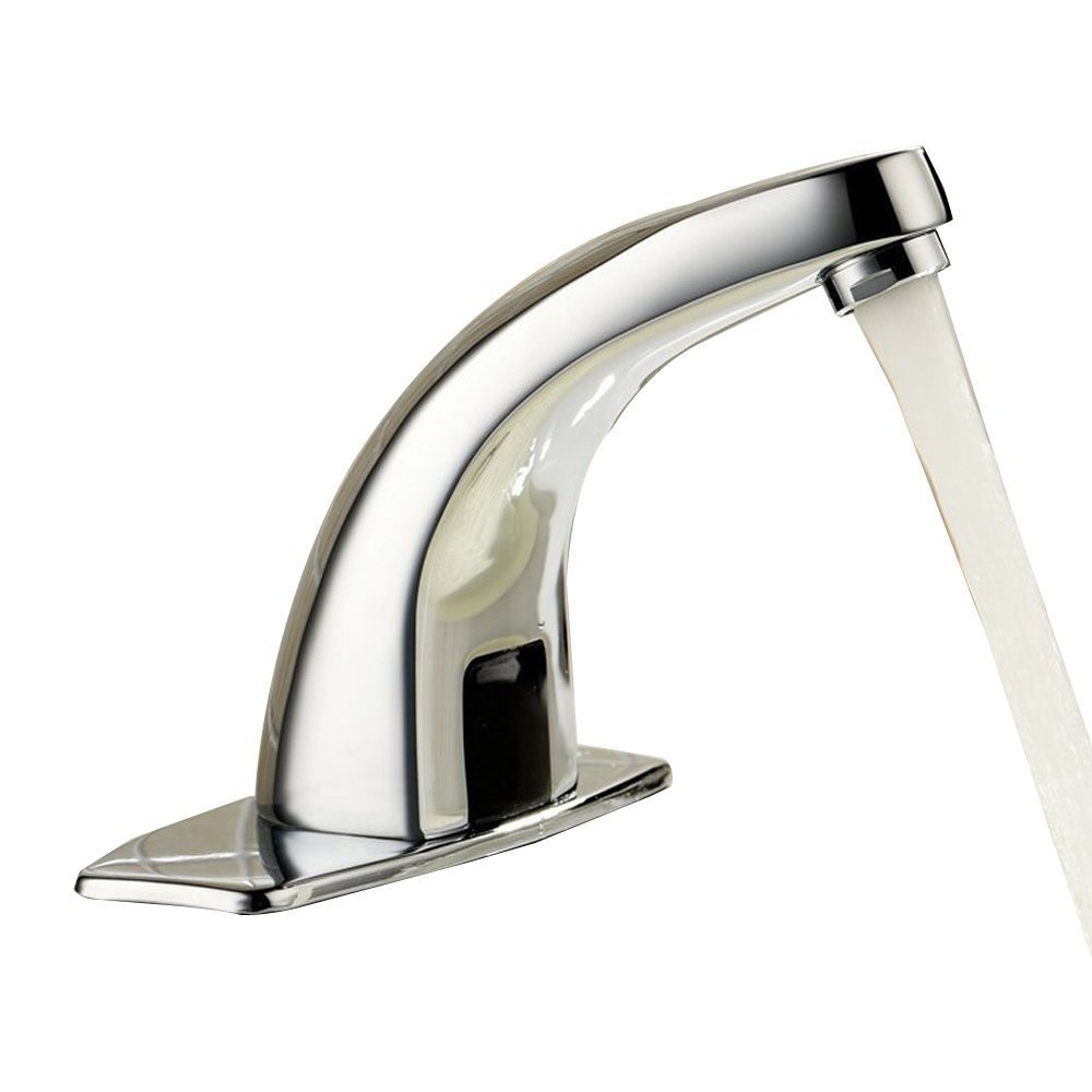 Greenspring Deck Mount Solid Brass Auto Sensor Bathroom Sink Faucet With Automatic Sensor Chrome