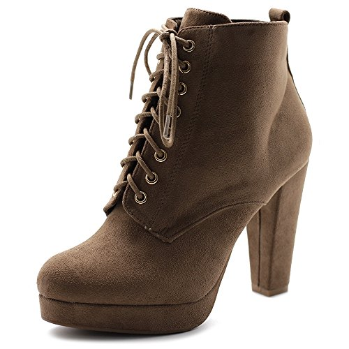 Shoe Taupe Faux Lace Suede Chunky Ankle Women's Booties up Platfrom Ollio Heel CPfq5H