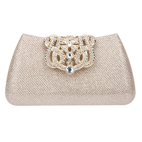 Fawziya Bling Glitter Purse For Girls Crown Box Clutch Ev...