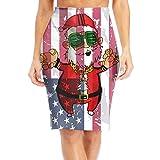 Ancharpin Hip Hop Santa American Flag Elastic High Waist Pencil Skirt Fit Career Office Midi Classic Fashion X-Large