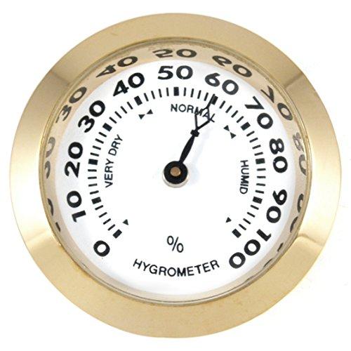 Small #2 Round Brass Analog Hygrometer Humidity Gauge Humidor