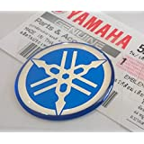 Yamaha 5HV-F3108-09-BU - Genuine 30MM Diameter Yamaha Tuning Fork Decal Sticker Emblem Logo Blue Raised Domed Gel Resin Self Adhesive Motorcycle/Jet Ski/ATV/Snowmobile