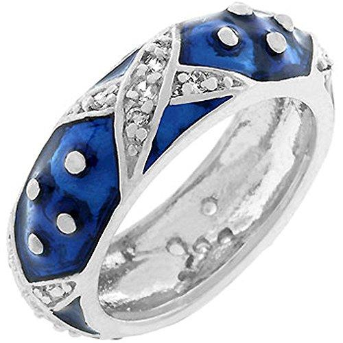 - AmberDesire Marbled Navy Blue Enamel Ring - Size 6