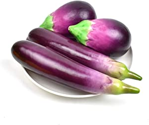 HZHI Fake Eggplant Combination Decoration Artificial Vegetable Home Kitchen Play Food Lifelike Realistic Model 4 pcs