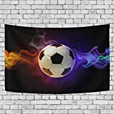 ALAZA Tapestry, Soccer With Colorful Flamy Symbol Tapestry Wall hanging Carpet Tapestries Personalized Style Home Decoration for Living Room Bedroom Dorm Room 60x40 inches