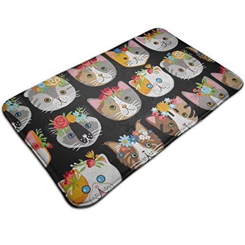 AZOULA Whiskers & Tails Dressy Kitty Cats Indoor Outdoor Doormat Welcome Doormat Bathroom Mats (Machine-Washable/Non-Slip) 31.5