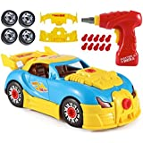 CoolToys Custom Take-A-Part Car Playset - Sports Car with Electric Play Drill and 30 Car Modification Pieces - Motion Activated Lights and Sounds