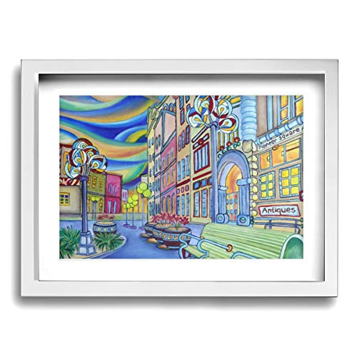 Wall Art with Frame Oil Painting Picture Oil Painting Modern City Framed Art Wall Decor Home Wall Art for Living Room Famous Painting Reproduction Ready to Hang-12 X 16in