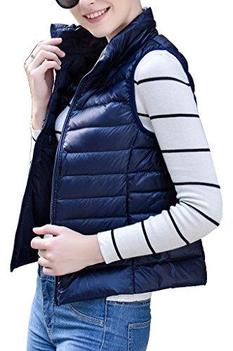 Women's Stylish Lightweight Packable Down Puffer Sleeveless Fall & Winter Vest Navy US Large(Asian 3XL) by HENGJIA (Image #2)