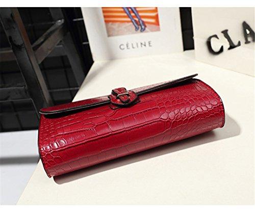 De Mujer Wewod 22 Bolsa Pu Clutch Cm 5 Bolsos largo Rojo Alto Moda 8 Grueso cuero Bandolera 16 0FwRr0x