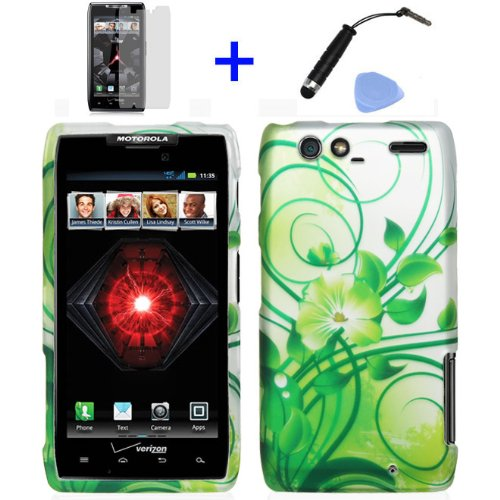 ((4 items Combo: Stylus Pen, Screen Protector Film, Case Opener, Graphic Case) Silver Green Flower Vine Design Rubberized Snap on Hard Cover Protector Shell Faceplate Skin Case for Verizon Motorola RAZR MAXX XT916 / XT913 / XT912M)