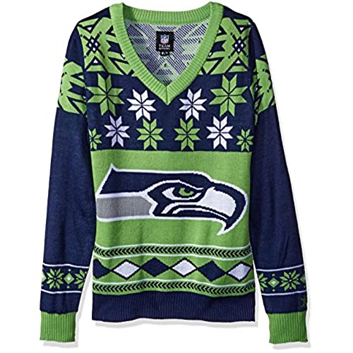 nfl womens v neck sweater seattle seahawks medium - Seahawks Christmas Sweater
