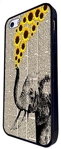 570 -Cute Elephant Sunflowers Design iphone SE - 2016 Coque Fashion Trend Case Coque Protection Cover plastique et métal - Noir