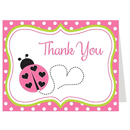 (Ladybug Thank You Cards, Baby Shower, Birthday, Baby Sprinkle, First, Thank You Notes, Girls, Pink, Green, Polka Dots, Little Lady, 50 Folding Notes and Envelopes)