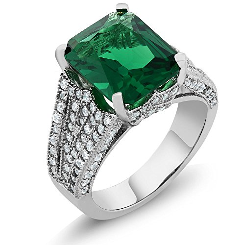 6.52 Ct Emerald Cut 12X10MM Green Simulated Emerald 925 Sterling Silver Women's Ring (Ring Size 7) (Stone Cocktail Green Ring)