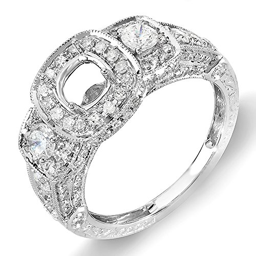 1.25 Carat (Ctw) 14k White Gold 3 Stone Ladies Round Diamond Semi-mount Engagement Ring Bridal Set (No Center Stone) (Size 7.5)