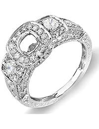 1.25 Carat (Ctw) 14k White Gold 3 Stone Ladies Round Diamond Semi-mount Ring Bridal Set (No Center Stone)