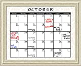 Framed Glass Dry Erase Board Large, Beige Damask Calendar: Outer Size 33 x 27''