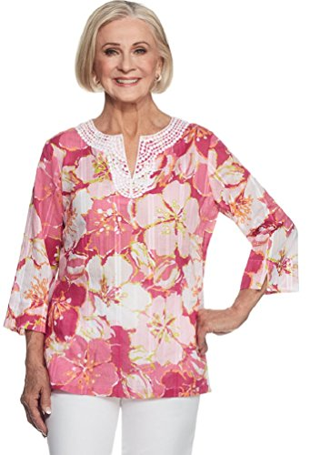 Alfred Dunner Women's Reel It In Floral Tunic Top, Pink (Alfred Dunner Tunic)