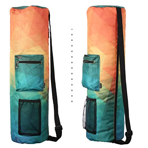 RoryTory Yoga Mat Bag w/ Adjustable Strap, Water Bottle Carrier, Inner & Outer Pockets, Heavy Duty & Machine Washable Fits Most Yoga Mat Sizes (various colors)