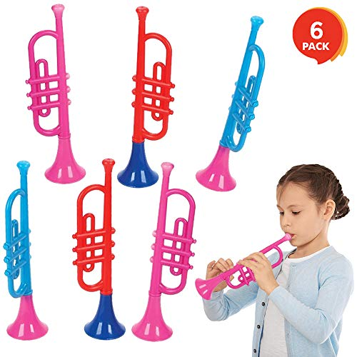 ArtCreativity 13 Inch Plastic Trumpets, Set of 6, Music Toys for Kids and Toddlers, Fun Musical Instruments Noise Makers for Parties and Events, Cool Birthday Party Favors for Boys, Girls, Adults (Bulk Plastic Flutes Instrument)