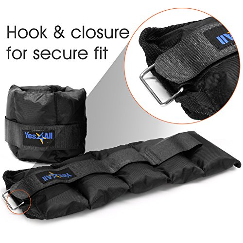 Yes4All Set of 2 Ankle Weights / Wrist Weights with Adjustable Strap - Perfect for Walking, Fitness, Cardio Exercise (6 lbs, Black)