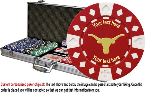 Custom Poker chip Set: Longhorn (Style 1) image & your custom text on both sides of the chips. 500 11.5 gram chip w/case & more.