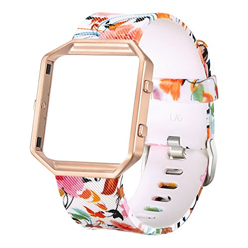bayite Accessories Replacement Classic Bands with Frame for Fitbit Blaze Smart Watch, Pattern Print Large 6.7 - 8.1 inches