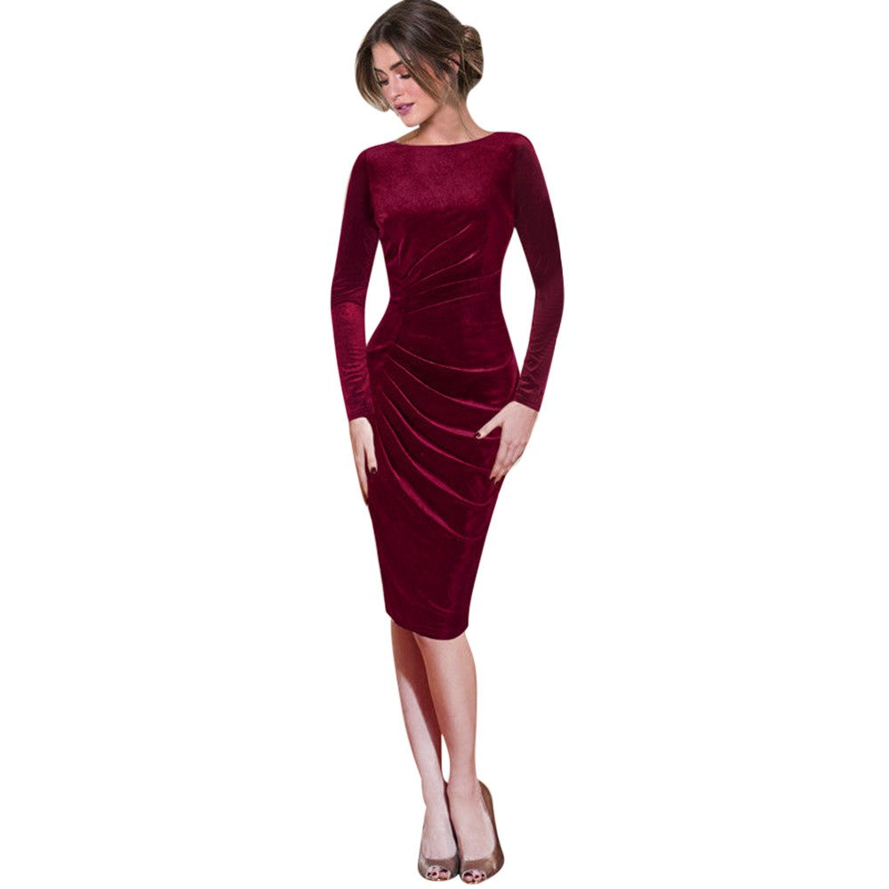 Kaitobe Womens Autumn Long Sleeve Midi Dress Velvet Ruched Solid Casual Bodycon Office Evening Cocktail Party Dress