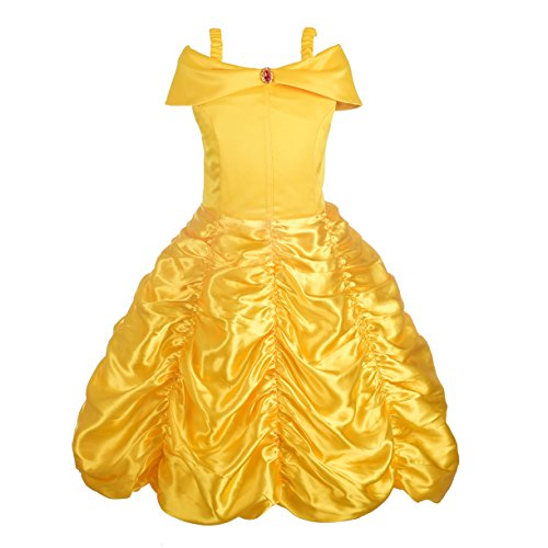 Dressy Daisy Girls' Princess Belle Costumes Princess Dress Up Halloween Costume Size 4T/5 -