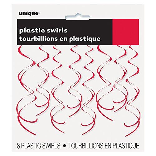 26 Plastic Hanging Swirl Red Decorations, 8ct