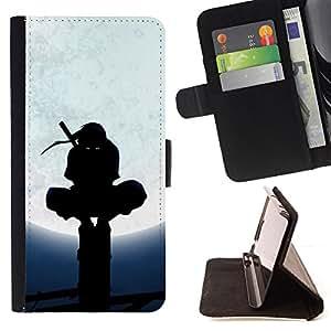 BullDog Case - FOR/Apple Iphone 5 / 5S / - / ninja black mask fighter warrior martial arts /- Monedero de cuero de la PU Llevar cubierta de la caja con el ID Credit Card Slots Flip funda de cuer