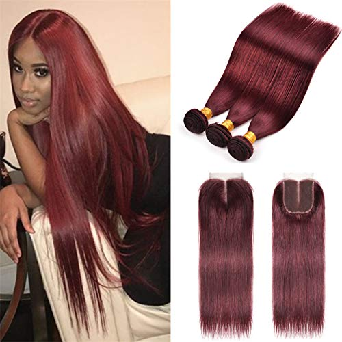 8A-Brazilian-Virgin-Hair-99j-Burgundy-Straight-Hair-Weaves-3-Bundles-with-Lace-Closure-4×4-Free-Part-Red-Wine-Color-100-Unprocessed-Human-Hair-Weft-Weaves-10-12-14-with-10-99jburgundywine-red