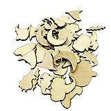 MonkeyJack 50 Pieces MDF Wooden Tags Halloween Decoration Craft Blank Pumpkin Bat Ghost Wine Decor Party