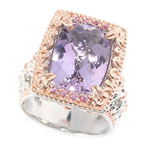 Cut Pink Amethyst Ring (Michael Valitutti Palladium Silver Checkerboard Cut Pink Amethyst & Pink Sapphire Ring)
