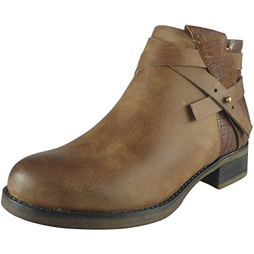 Womens Ladies Strap Chelsea Booties Low Cuban Heel Ankle Casual Boots Shoes Size 3-8 Camel T0NcfPfo1