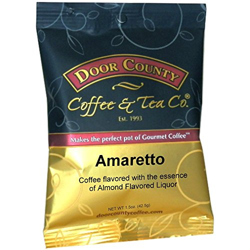 Door County Coffee 1.5oz Full-Pot Bags, Ground (Amaretto, 6 Full-Pot Bags) - Amaretto Flavored Regular Coffee